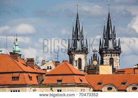 View Of The Tyn Church In Prague