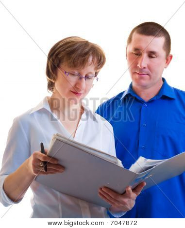 The Busineswomen Shows The Man  Documents In Thick Folder