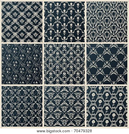 Vector seamless vintage backgrounds. Abstract set black baroque wallpaper