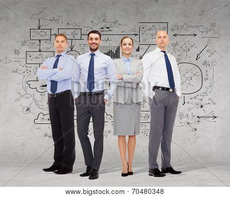 business, teamwork, planning and people concept - group of smiling businessmen over gray concrete wall with scheme drawing background