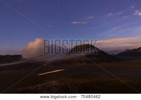 Bromo Volcano at  Java, Indonesia in the night