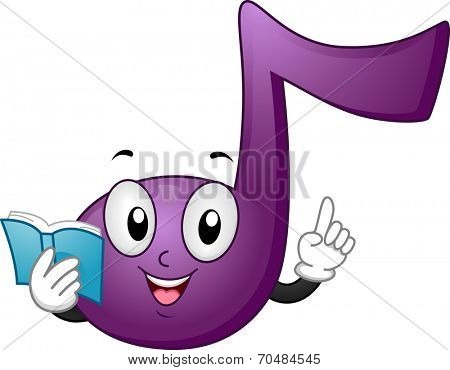 Mascot Illustration Featuring a Music Note Holding a Music Sheet While Teaching Music