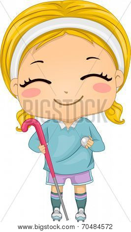 Illustration of a Girl Dressed in Field Hockey Gear