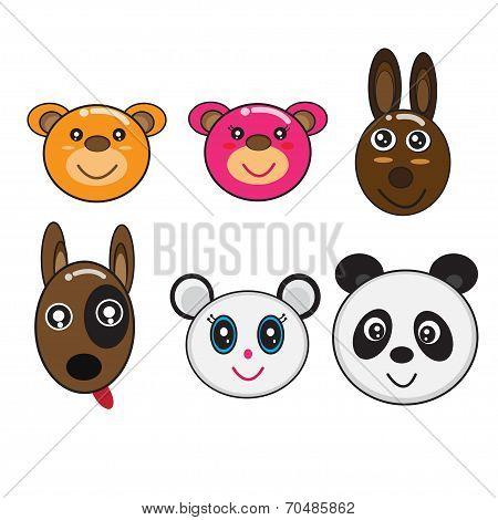 Vector Head Animals Cartoon  Lovely