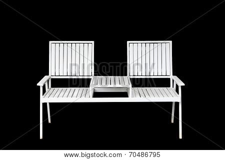 White Iron Chair Furniture Isolated On Black