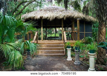 Tiki Hut Building In Florida Park