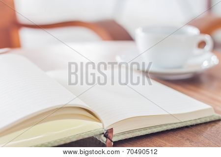 Blank Notebook With Coffee Cup