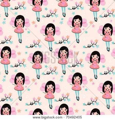 Seamless kids tooth fairy princess illustration and night owl on a branch background pattern in vector
