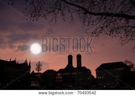 Munich City Scape - Moonlight Scenery