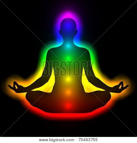 Silhouette of woman in meditation, energy body, aura, chakras