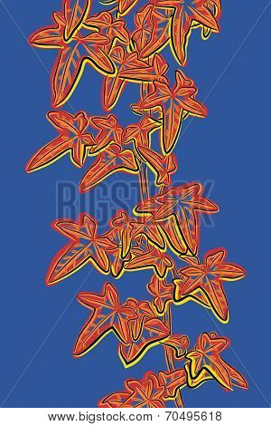 Editable vector sketch illustration of a leafy ivy vine in popart style