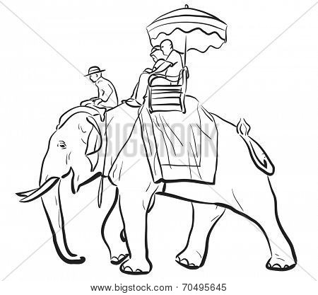 Editable vector sketch of tourists riding on an Asian elephant with mahout