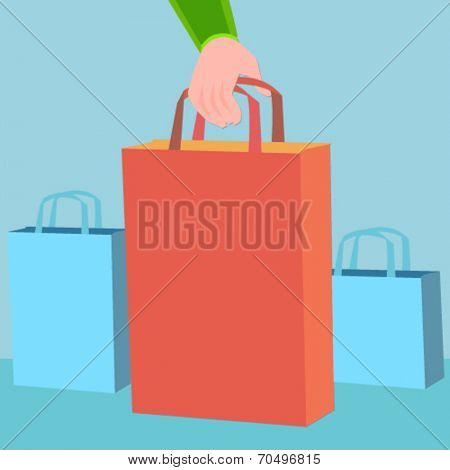 hand holding a shopping bag - flat design vector
