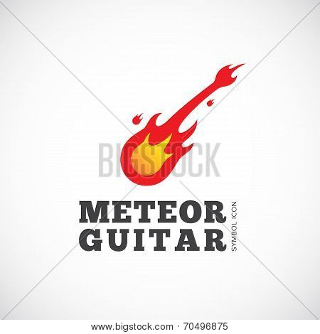 Meteor Guitar Vector Concept Symbol Icon or Logo Template