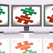 stock photo of exciting  - Bored Excited Puzzle Screen Meaning Exciting And Fun Or Boring - JPG