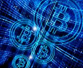 foto of bitcoin  - high quality digital abstract background with bitcoin symbol - JPG