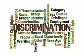 pic of disadvantage  - Discrimination Word Cloud on White Background - JPG