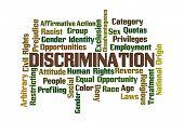 foto of disadvantage  - Discrimination Word Cloud on White Background - JPG