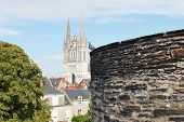 picture of anjou  - view of Saint Maurice Cathedral from Angers Castle France - JPG