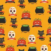 picture of cauldron  - seamless halloween pattern decoration with pumpkins skulls cauldrons and black cats with clipping path - JPG