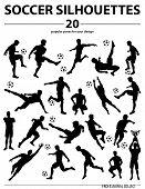 Постер, плакат: Silhouettes Soccer Players