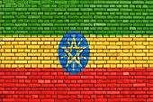 foto of ethiopia  - flag of Ethiopia painted on brick wall - JPG