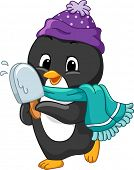 stock photo of popsicle  - Illustration of a Penguin Holding a Popsicle - JPG
