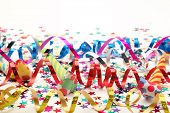 image of confetti  - Streamers and confetti on white background - JPG