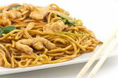 stock photo of lo mein  - Delicious chinese food chicken Lo Mein stir fry - JPG