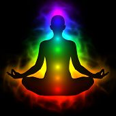 image of vibrator  - Illustration of human energy body aura chakra in meditation - JPG