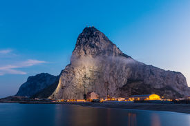 image of gibraltar  - The rock of Gibraltar seen from the bay - JPG