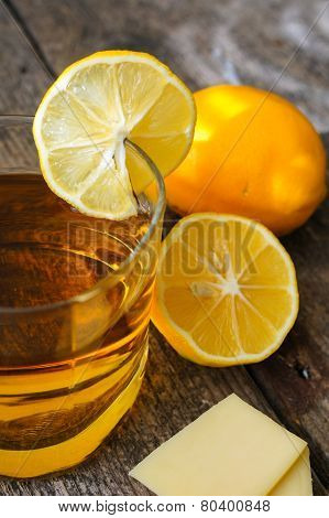 Glass Of Brandy With Lemon