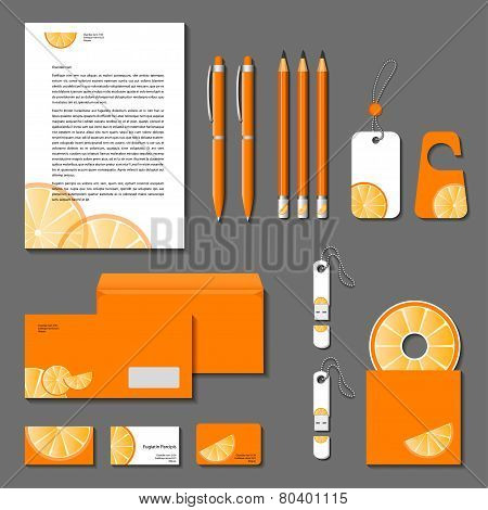 Orange Corporate Identity. Vector Company Style For Brand-book And Guideline. Eps 10