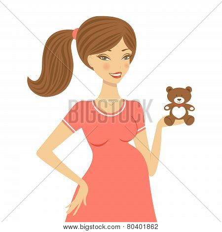 Beautiful mom to be holding teddy bear