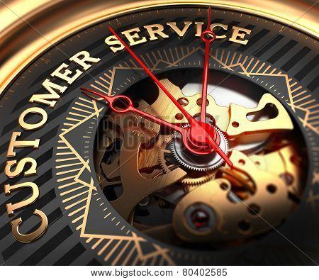 Customer Service on Black-Golden Watch Face.