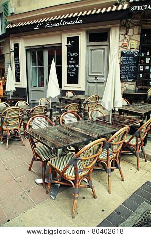 Outdoor French Traditional Cafe,  Nice, French Riviera, France