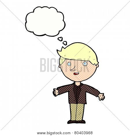 cartoon man in casual jacket with thought bubble