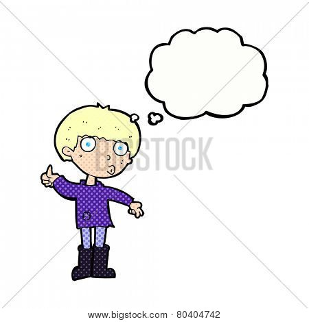 cartoon boy asking question with thought bubble