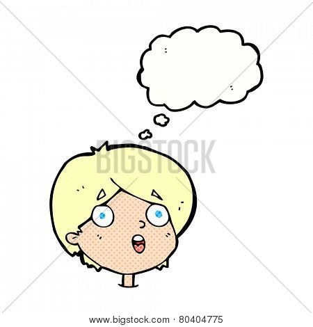 cartoon amazed expression with thought bubble