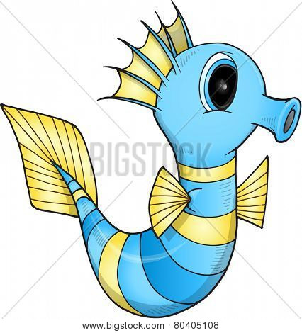 Cute Sea Horse Illustration Art