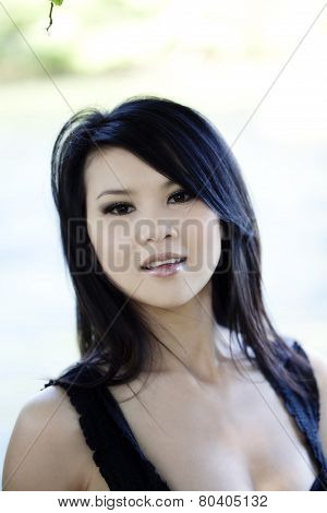Outdoor Portrait Attractive Young Asian American Woman