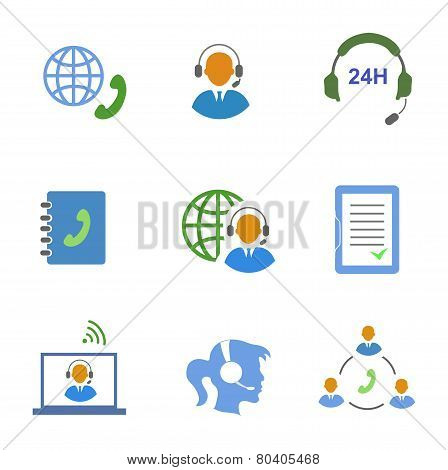 Call center service icons set of contacts mobile phone and communication isolated  illustration