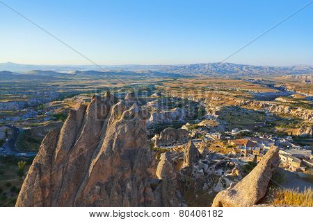 Uchisar Castle in Cappadocia Turkey - travel background