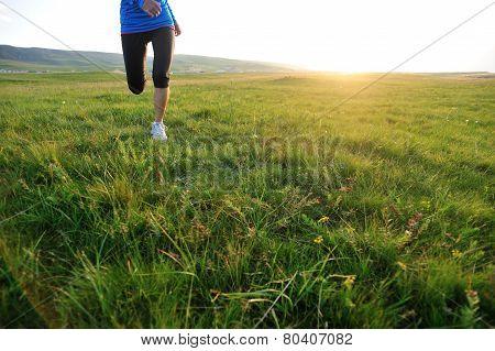 Runner athlete legs running on grass seaside. woman fitness  jogging workout wellness concept.