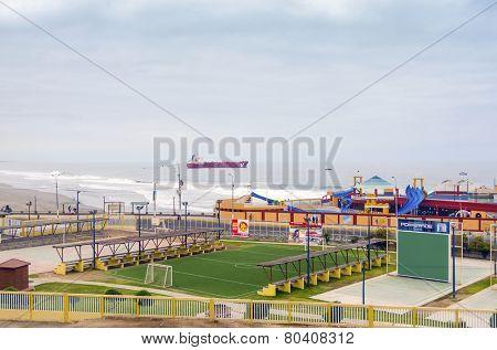 MOLLENDO, PERU, MAY 19, 2014: View of Mollendo beach and sport complex