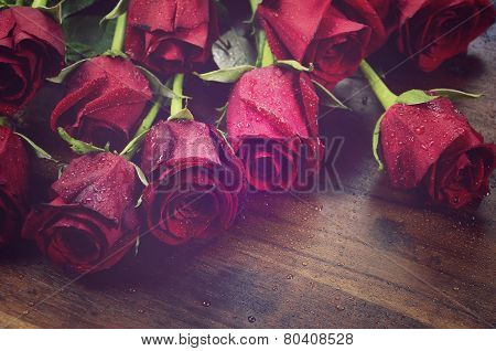 Vintage Filter Red Roses For Valentines Day, Birthday Or Special Occasion
