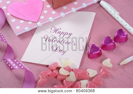 Writing Love Letters And Cards For Happy Valentines Day With Heart Shape Candy On Pink Shabby Chic W