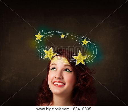 Young girl with yellow stars circleing around her head illustration