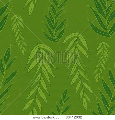 Green leaves pattern. Seamless vector texture.