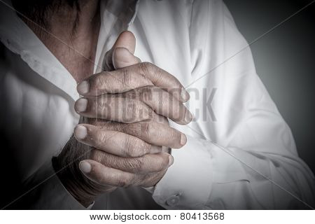 Indian Old Man In Prayer God